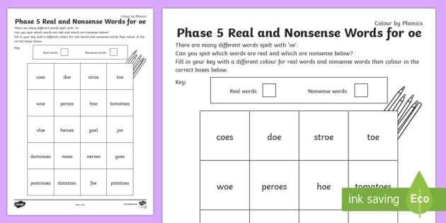 Phase 5 'oe' Colour by Phoneme Real and Nonsense Words - phase 5
