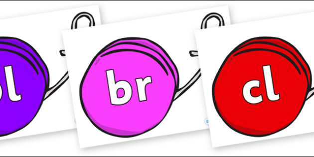 Initial Letter Blends on Yo Yos - Initial Letters, initial letter, letter blend, letter blends, consonant, consonants, digraph, trigraph, literacy, alphabet, letters, foundation stage literacy