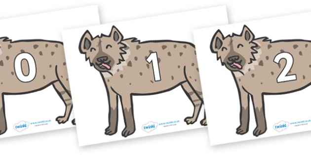 Numbers 0-100 on Hyenas - 0-100, foundation stage numeracy, Number recognition, Number flashcards, counting, number frieze, Display numbers, number posters