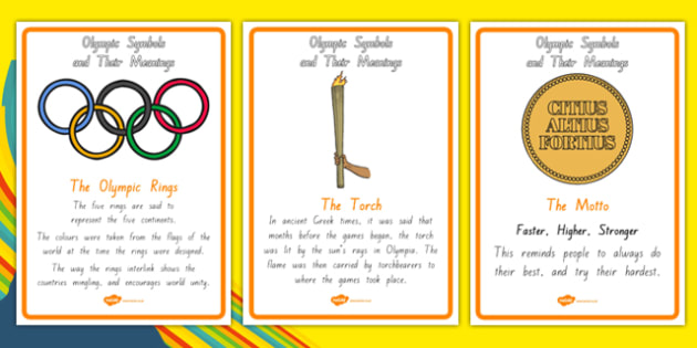 The Olympics Symbols and Their Meanings Display Posters - nz, new zealand, symbols, Olympics, Olympic Games, sports, Olympic, London, what do olympic symbols mean, meaning, 2012, activity, Olympic torch, medal, Olympic Rings, mascots, flame, compete,
