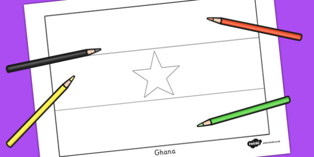 Ghana Flag Colouring Sheet - geography, countries, colour