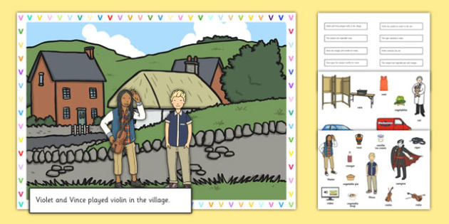 Silly V Sentences Cut and Stick Pictures - silly v, sentence, cut and stick, pictures