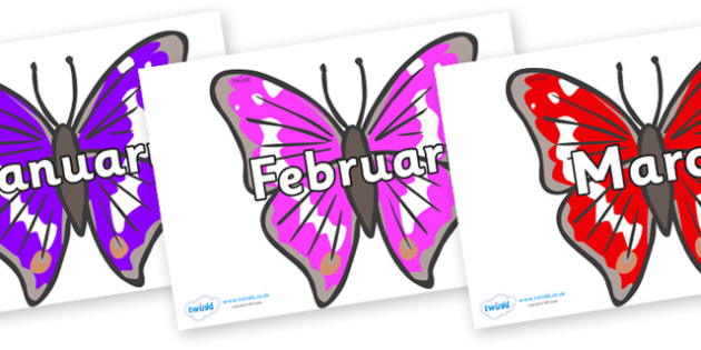 Months of the Year on Emperor Butterflies - Months of the Year, Months poster, Months display, display, poster, frieze, Months, month, January, February, March, April, May, June, July, August, September