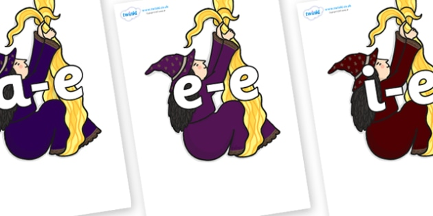 Modifying E Letters on Climbing Witches - Modifying E, letters, modify, Phase 5, Phase five, alternative spellings for phonemes, DfES letters and Sounds