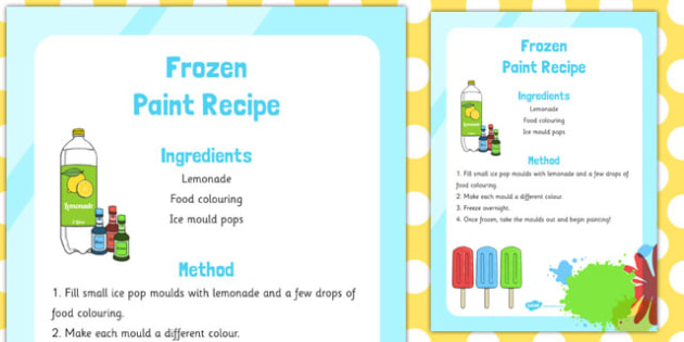 Frozen Edible Paint Recipe - frozen, edible, paint, recipe, eyfs