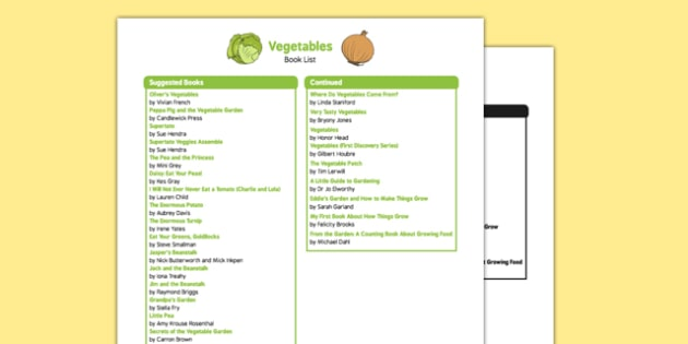 Vegetable Themed Book List