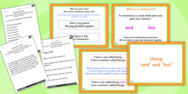 Using and and but Lesson Teaching Pack - writing aid, literacy