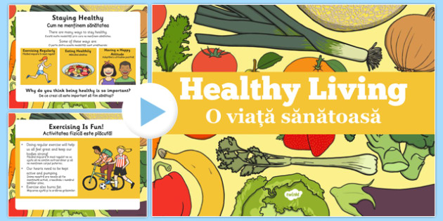 Healthy Eating and Living PowerPoint Romanian Translation - romanian, powerpoint, power point, interactive, powerpoint presentation, healthy eating, healthy living, health powerpoint, how to be healthy, presentation, slide show, slides, discussion ai