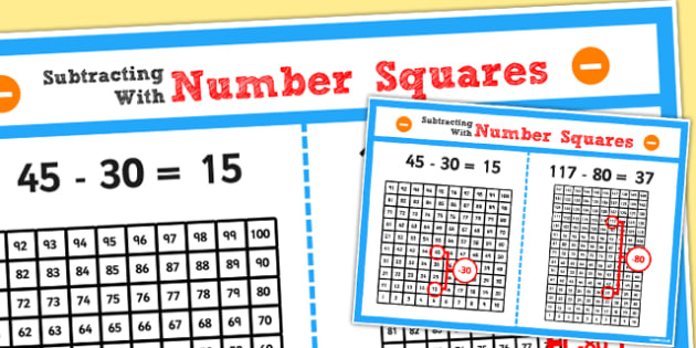 Year 2 Subtracting 2 Digit Numbers and Tens Using Number Squares