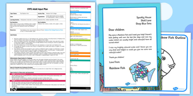 Collage EYFS Adult Input Plan and Resource Pack to Support Teaching on The Rainbow Fish