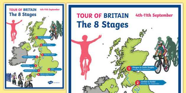 Tour of Britain Map Display Poster