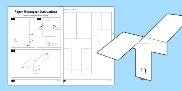 Helicopter Basic Template - Air resistance, gravity, spinner, rotor blades, flying, science, make, home education, parents