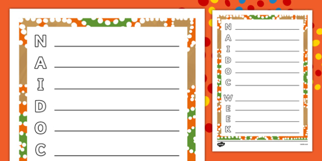 NAIDOC Week  Acrostic Poem Activity Sheet-Australia, worksheet
