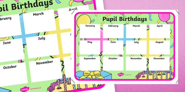 Pupil Birthdays A4 Display Poster-Irish