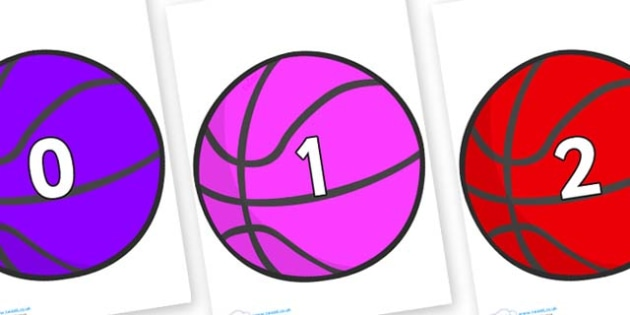 Numbers 0-100 on Basketballs - 0-100, foundation stage numeracy, Number recognition, Number flashcards, counting, number frieze, Display numbers, number posters
