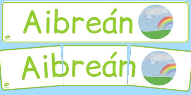 Aibreán Display Banner Gaeilge - gaeilge, year, months of the year, april