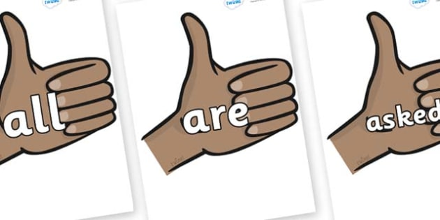 Tricky Words on Thumbs Up - Tricky words, DfES Letters and Sounds, Letters and sounds, display, words