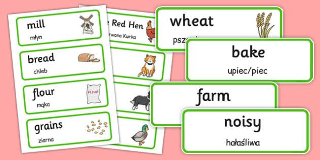 Little Red Hen Word Cards Polish Translation - polish, little red hen, word cards, word, cards