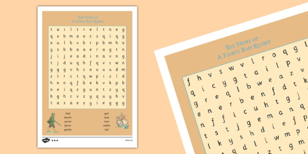Beatrix Potter - The Story of a Fierce Bad Rabbit Differentiated Word Search - beatrix potter, fierce, bad, rabbit