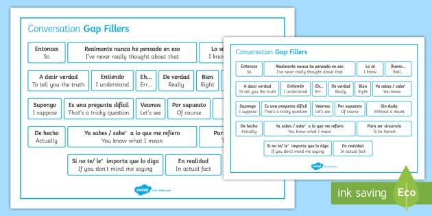 Spanish Conversation Gap Fillers Word Mat - Spanish Speaking Practice, gap fillers, conversation, skills