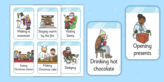 EYFS Look And Act Winter Cards - winter cards, look and act