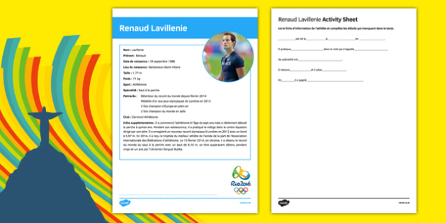 French Olympic Athletes Renaud Lavillenie Gap Fill Activity Sheet, worksheet