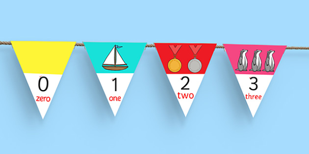 0-30 Number Line Bunting - numbers, display, flags, counting, maths, numeracy