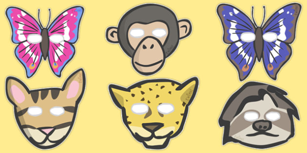 Jungle & Rainforest Role Play Masks - Jungle, rainforest, animal, animals, Role Play, mask, vines, A4, display, snake, forest, ecosystem, rain, humid, parrot, monkey, gorilla