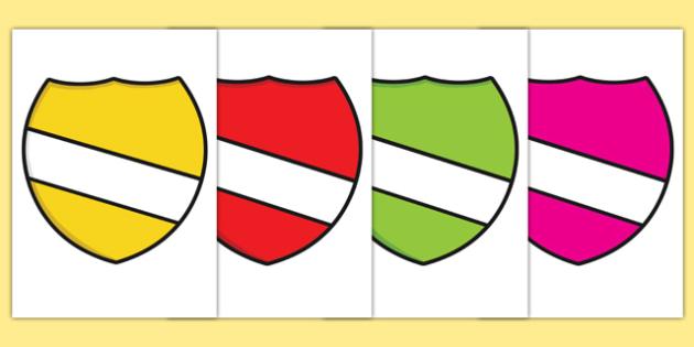 Editable Multi Coloured Shield Display Cut Outs
