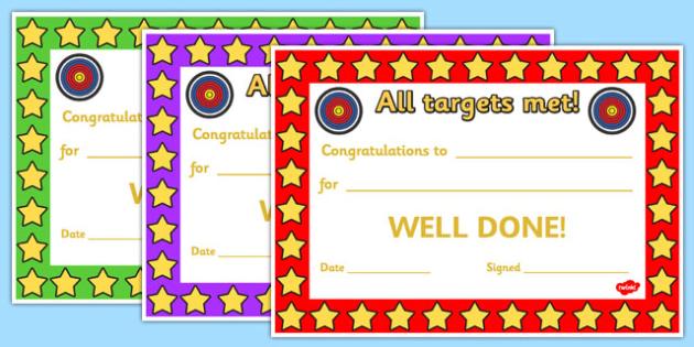Targets Met Certificates - targets, targets met, achievements, certificates, rewards, awards, reward certificate, behaviour management, class management