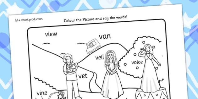 Word Inital v Production Colouring Scene - initial v, colours