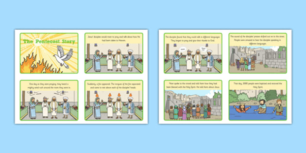 Pentecost Sequencing Cards Story Cards - Pentecost, Whit, Whitsun, ascension, sequencing cards, story retelling, story cards