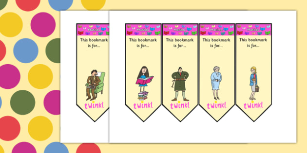 Editable Bookmarks to Support Teaching on Matilda - matilda, roald dahl, bookmarks