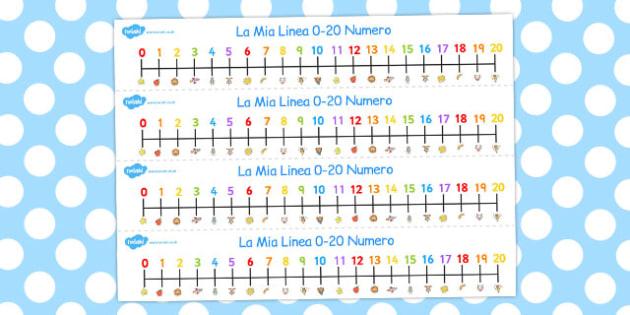 Italian Number Line 0-20 - italian, number, line, 0-20, numbers