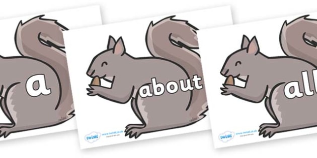 100 High Frequency Words on Grey Squirrels - High frequency words, hfw, DfES Letters and Sounds, Letters and Sounds, display words