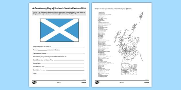 Scottish Elections 2016 Constituency Map - CfE, Scottish Elections 2016, Scottish constituencies, Scottish Parliament, polling