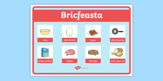 An Bhialann The Restaurant Role Play Breakfast Sign Irish Gaeilge - restaurant, bialann, an bhialann, food, bia, role play, Aistear, menu, display, resource pack, irish, gaeilge, comhra, breakfast, bricfeasta