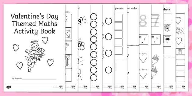 Valentines Day Themed Maths Activity Book - valentines day, book