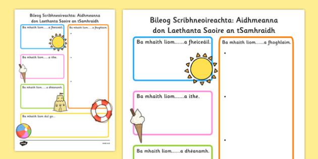 Summer Holiday Hopes Write Up Worksheet Gaeilge - seasons, writing sheet