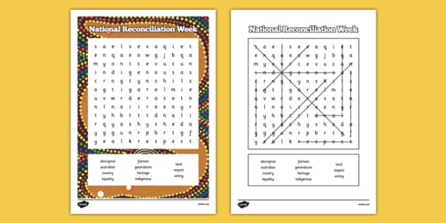 National Reconciliation Week Word Search - australia, National Reconciliation Week, reconciliation, aboriginal and torres strait islands, respect, australian, national reconciliation week, australians, effort, wordsearch, find-a-word, spelling