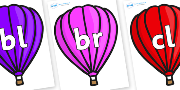 Initial Letter Blends on Hot Air Balloons (Plain) - Initial Letters, initial letter, letter blend, letter blends, consonant, consonants, digraph, trigraph, literacy, alphabet, letters, foundation stage literacy