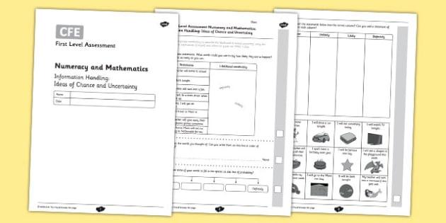 CfE First Level Assessment Information Handling: Ideas of Chance and Uncertainty - CfE, assessment, data, information handling, bar graphs, Venn, Carroll, tally marks