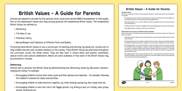 British Values A Guide for Parents