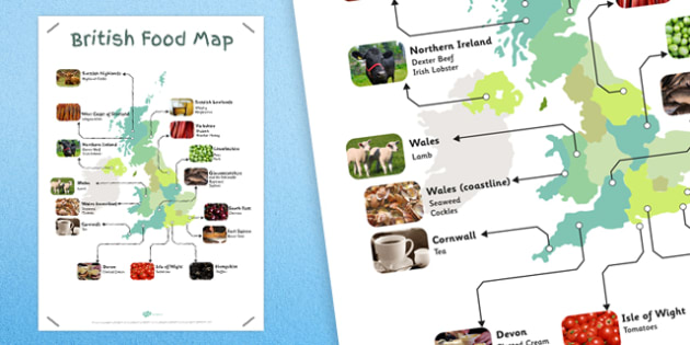 British Food Map - british, food, maps, foods, britain, maps