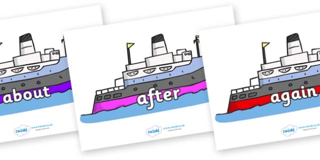 KS1 Keywords on Boats - KS1, CLL, Communication language and literacy, Display, Key words, high frequency words, foundation stage literacy, DfES Letters and Sounds, Letters and Sounds, spelling