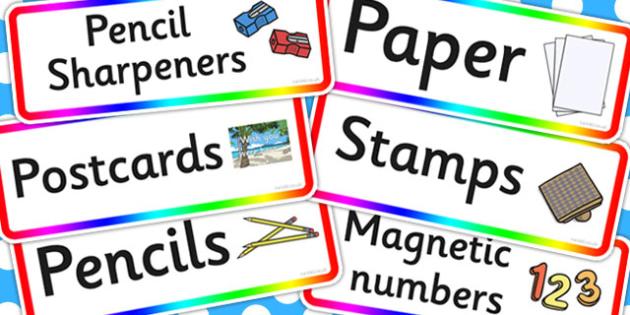 Rainbow Themed Writing Area Resource Labels - rainbow, writing