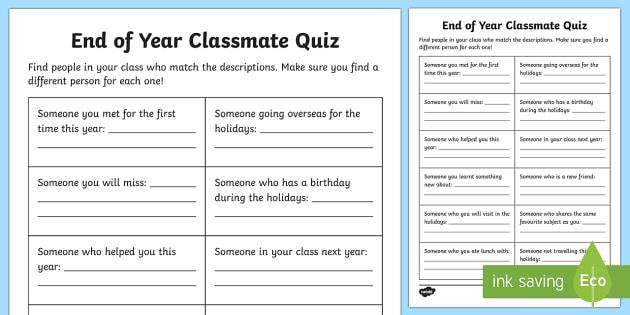End of Year Classmate Quiz Activity Sheet - End of Year,Back to School, Australia,end of year,quiz, friends,Worksheet