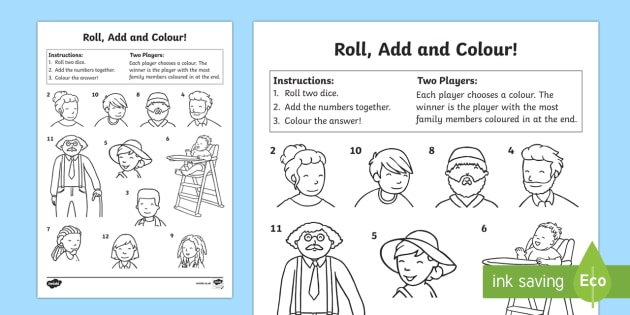 My Family Roll and Colour Activity Sheet, worksheet