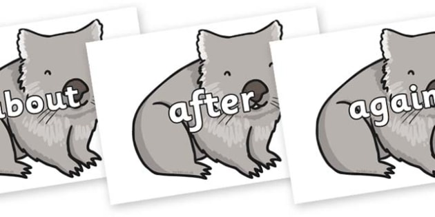 KS1 Keywords on Wombat - KS1, CLL, Communication language and literacy, Display, Key words, high frequency words, foundation stage literacy, DfES Letters and Sounds, Letters and Sounds, spelling