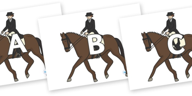 A-Z Alphabet on Equestrian (Horses) - A-Z, A4, display, Alphabet frieze, Display letters, Letter posters, A-Z letters, Alphabet flashcards